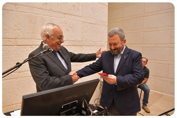 Ehud Barak Received his alumni card
